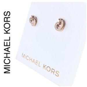 NWT MK rose gold tone interlinked hoop earrings